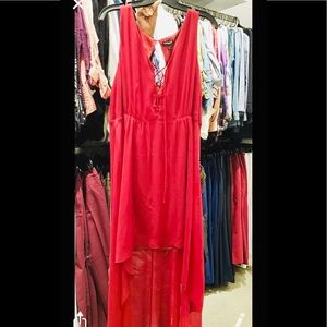 Express Sexy Red Dress Sheer Layer, w/ Slip Layer